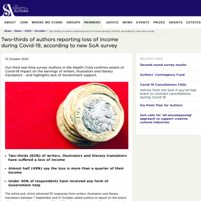 Society of Authors (UK) survey: Two-thirds of authors reporting loss of income during Covid-19